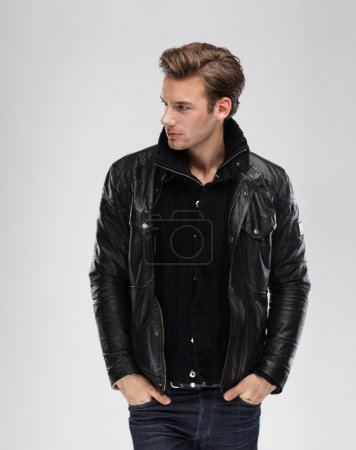 Serious man wearing leather jacket