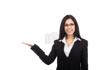Businesswoman hold open palm