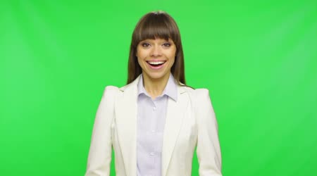 Surprised excited smile business woman