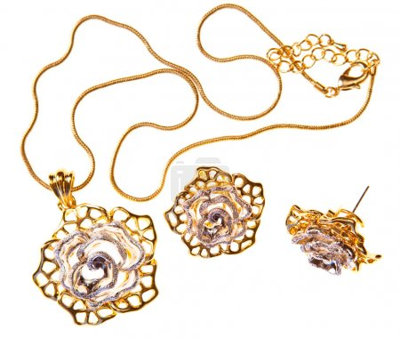 Necklace and earrings, isolated
