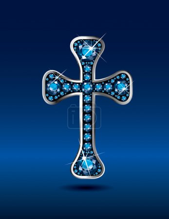 Christian Cross in Silver with Aquamarine Stones