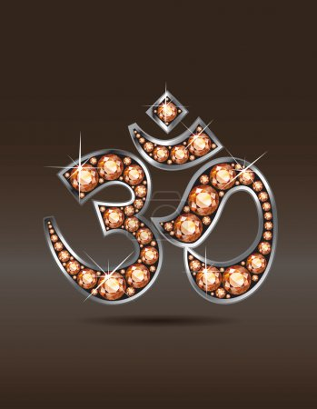Om Symbol in Silver with Amber or Topaz Stones