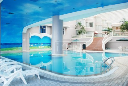 The indoor hotel swimming pool