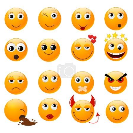 Illustration for Set of orange smiles. Vector illustration, isolated on a white. - Royalty Free Image