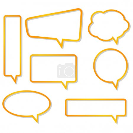 Illustration for Orange vector speech bubbles with realistic hadows. - Royalty Free Image