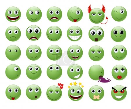 Illustration for Set of green emoticons. Vector illustration, isolated on a white. EPS10 - Royalty Free Image