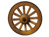 Roue de chariot antique fait de bois et isolée, bordées de fer