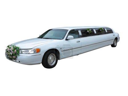 Photo pour Limousine de mariage blanc pour les célébrités et les événements spéciaux isolés sur fond blanc - image libre de droit