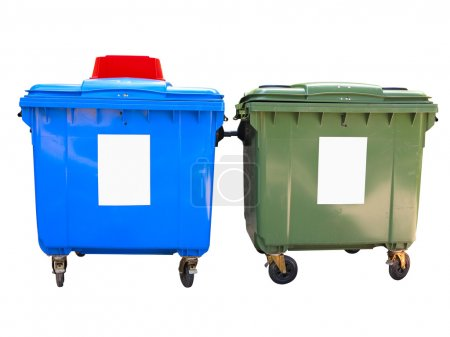 New colorful plastic garbage containers isolated over white