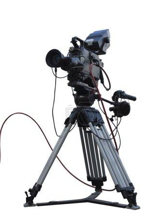 TV Professional studio digital video camera on tripod isolated o