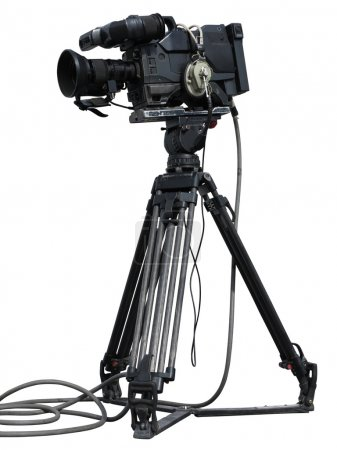 Professional video camera set on a tripod isolated over white