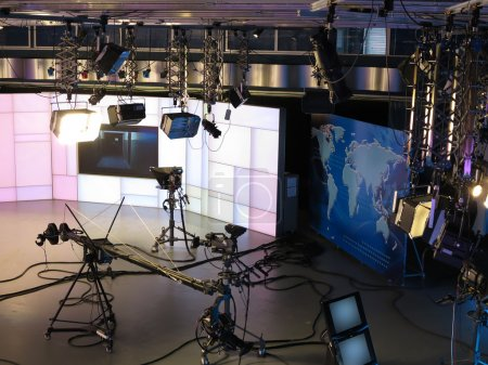 Photo for Television studio equipment, spotlight truss, professional cameras and so on - Royalty Free Image