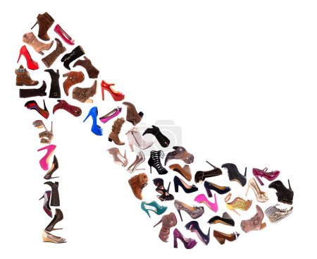 Photo for A collage of 30 ladies shoes, high heels, sandals and boots, isolated on a white background. - Royalty Free Image