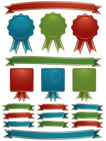 Illustration pour Rubans et emblèmes rouge, vert et bleu brillant avec garniture dorée, isolés sur blanc - image libre de droit