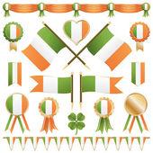 Irish flags and ribbons