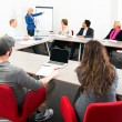 Several businesspeople meeting in a spaceous meeti...