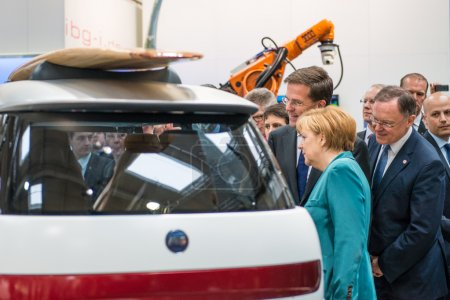 Angela Merkel during a technology showcase tour
