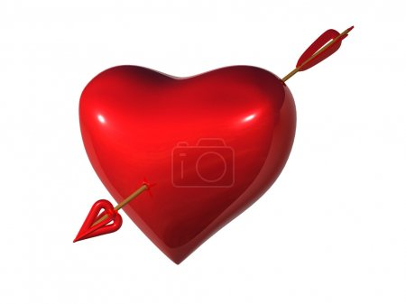 Photo pour Coeur percé par la flèche Cupidon - image libre de droit