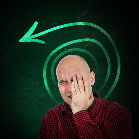Photo for Memory loss, portrit of adult bald man trying to remember something, hand on face. - Royalty Free Image