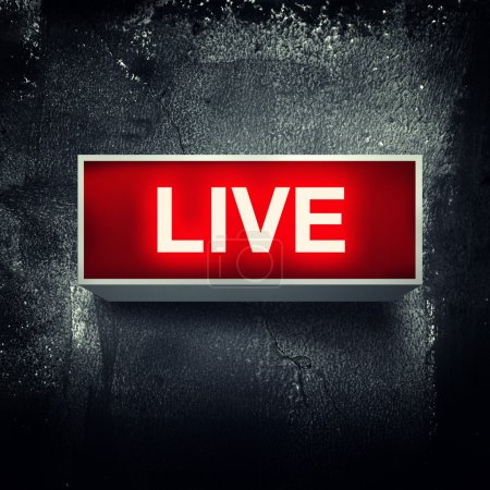 "Photo for ""Live"" warning board message is lit on. - Royalty Free Image"