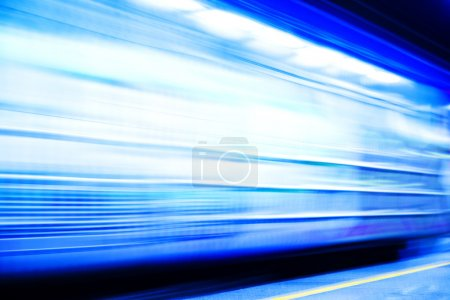 Photo for Subway train in the station. High speed train with motion blur. - Royalty Free Image