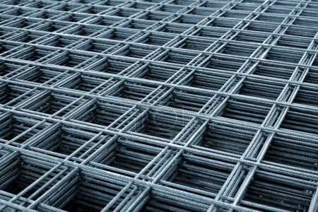Photo for Reinforcing steel mesh, close up image of construction material. - Royalty Free Image
