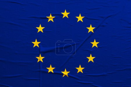 Photo for Grunge blue Europian Union flag with yellow stars overlaying a grungy texture - Royalty Free Image