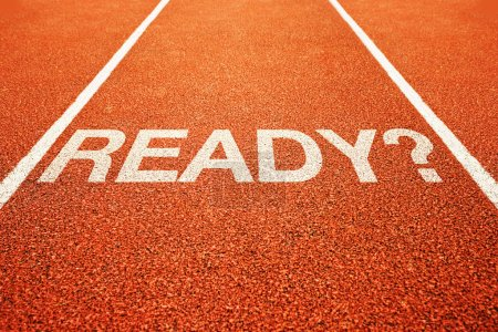 Photo for Question ready on athletics all weather running track - Royalty Free Image