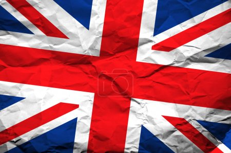 Photo pour Drapeau de la Grande-Bretagne qui vient se superposer froissé la texture du papier - image libre de droit