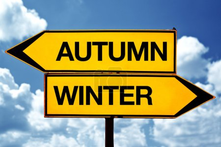 Photo for Autumn or winter, opposite signs. Two blank opposite signs against blue sky background. - Royalty Free Image