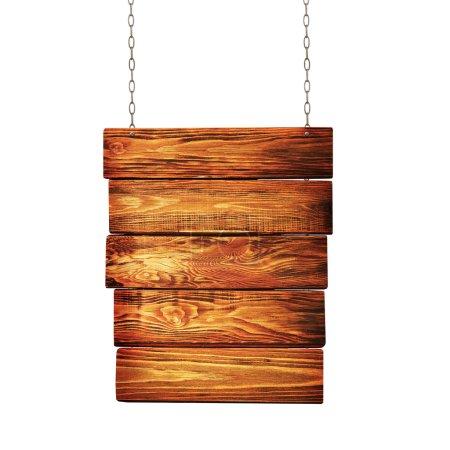 Photo pour Panneau en bois suspendu à des chaînes isolés sur fond blanc - image libre de droit