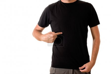Photo for Slim tall man posing in blank black t-shirt - Royalty Free Image