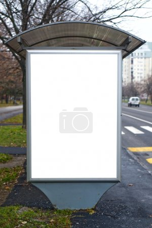 Photo for Bus station with blank billboard, outdoor advertising background. - Royalty Free Image
