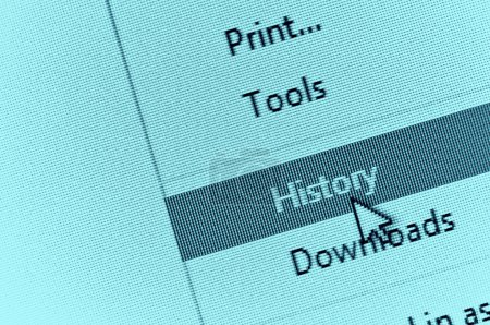 Computer cursor pointing to internet browser history in drop dow