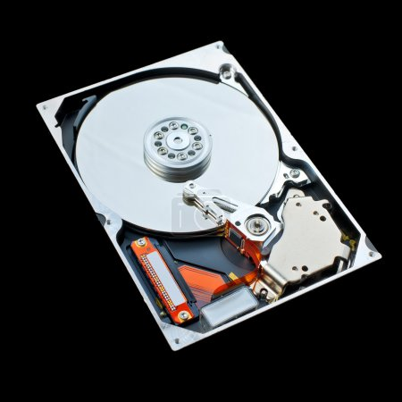 Computer hard disk isolated on black background