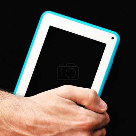 Photo for Male Hands with tablet computer with blank screen as copy space. Using modern technology gadgets. - Royalty Free Image