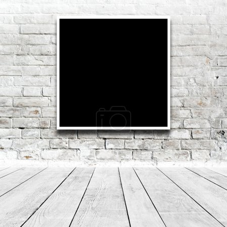 Photo for Square Painting hanging on the art gallery white wall. - Royalty Free Image