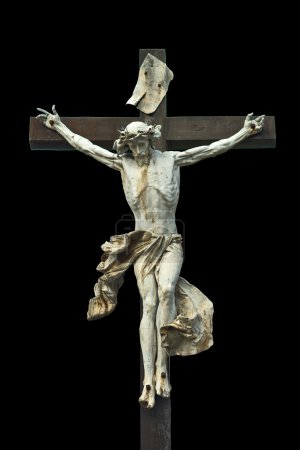 Photo for Crucifixion. Christian cross with Jesus Christ statue isolated on black background with clipping work path. Religion and spirituality concept. - Royalty Free Image