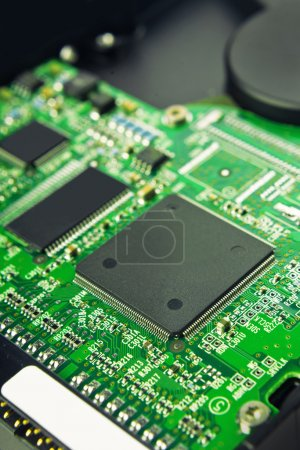 Photo for Computer Hard Disk Electronics Circuit, Macro Photo - Royalty Free Image