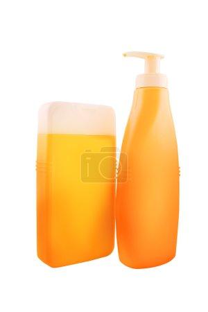 Bottles of Sunbath oil or sunscreen