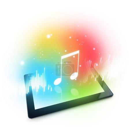 Photo pour Lecture de musique sur tablette numérique. Modèle d'affichage générique de dix pouces de Tablet pad computer . - image libre de droit