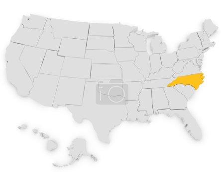 3d Render of the United States Highlighting North Carolina