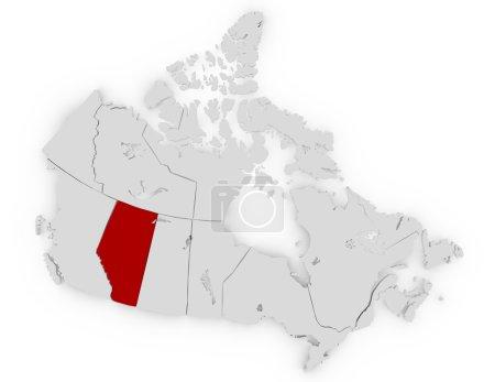Photo pour 3d Render of Canada Mise en valeur de l'Alberta - image libre de droit