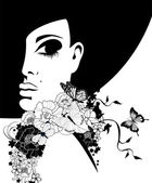 Silhouette of a woman in a black hat with flowers and butterflies vector illustration