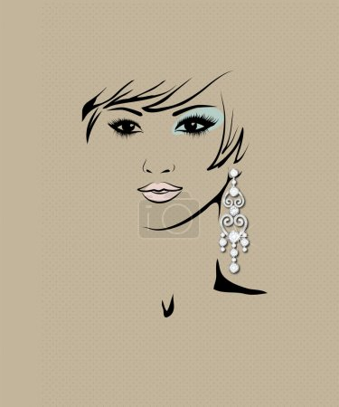 sketch of girl's head with earring in his ear, fashion illustration