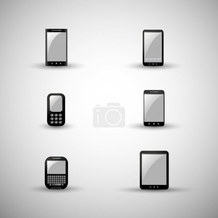 Set of Modern and Vintage Mobile Gadgets