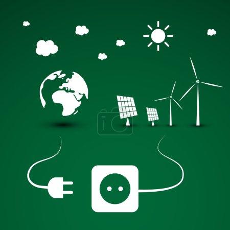 Illustration pour Modèle de conception écologique écologique avec énergie renouvelable provenant de l'énergie solaire et éolienne - Illustration en format vectoriel librement modifiable - image libre de droit