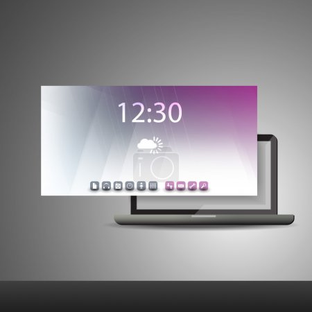 Laptop PC with Layers and Icons - Business Vector Illustration