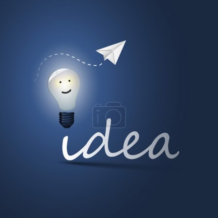 Illustration for Blue Glowing Light Bulb Concept Design Illustration in Freely Editable Vector Format - Royalty Free Image