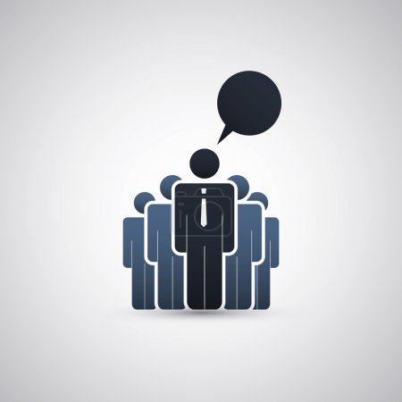 Illustration pour La main-d'œuvre de l'entreprise derrière le leader - Blue Business or Decision Making Concept Icon Design Clipart in Editable Vector Format - image libre de droit